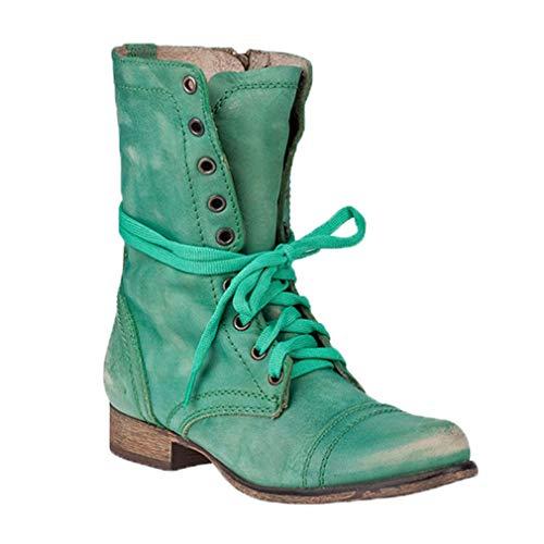 Preisvergleich Produktbild Leder Stiefe für Damen Retro Blockabsatz Stiefeletten Frauen Bequeme Schuhe Sohle Mode Herbst Winter Casual Boots Schuhe Stiefel Gelb / Grün / Blau / Braun