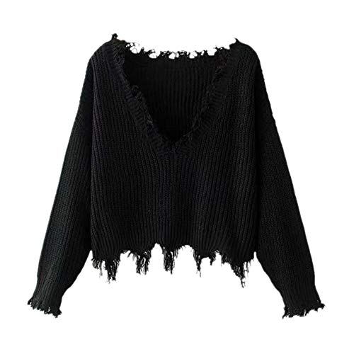 ZAFUL Women's Casual Long Sleeve Loose Knitted Jumper Sweater Pullover Winter Top Outwear(Black)