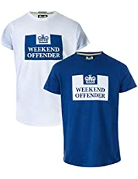 Weekend Offender Mens Siegel 2 Pack Prison Logo T-Shirts in White Navy- One c17f5f4556ce
