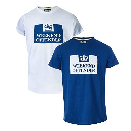 690908fdff498c Weekend Offender Mens Mens Siegel 2 Pack Prison Logo T-Shirt in White Navy -