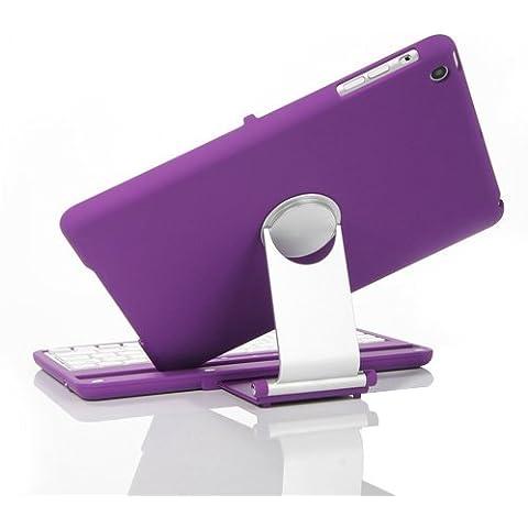Tastiera con supporto girevole a 360°, per Apple iPad mini 4, KVAGO a conchiglia, girevole, con tastiera Bluetooth Wireless con custodia protettiva Flip Turn Custodia con tastiera, per Apple iPad mini 4 2015-Release iPad mini 1/2/3 - Purple for iPad mini 1/2/3
