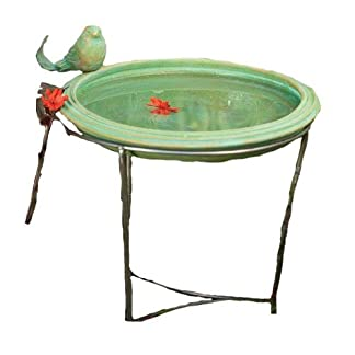 Ancient Graffiti Ceramic Teal Round Standing Bird Bath Ancient Graffiti Ceramic Teal Round Standing Bird Bath 41AboimRv9L