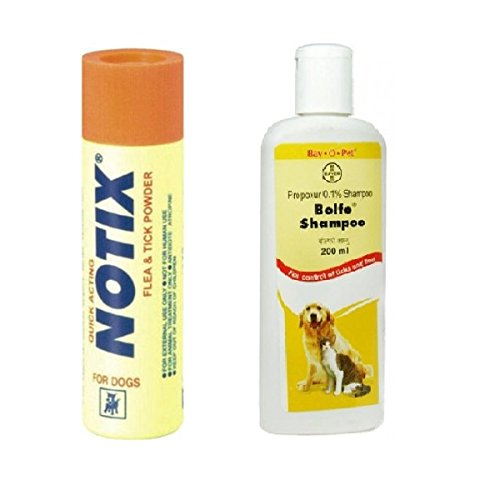 Nap Pet India Notix-P Anti-Tick And Flea Powder 100G With Bayer'S Bolfo Shampoo 200Ml (Pack Of 2)