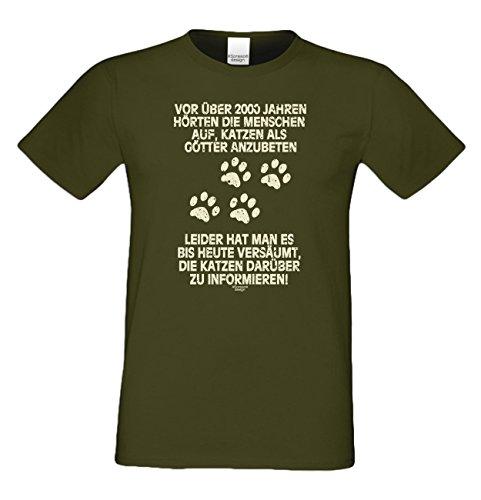 Geschenk für Katzenfreunde :-: T-Shirt mit Katzen Motiv :-: Katzen als Götter :-: Geschenkidee für Tierfreunde zum Geburtstag Vatertag Weihnachten :-: Farbe: khaki Khaki