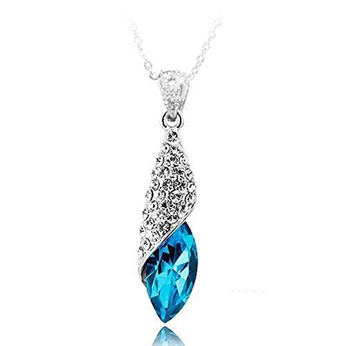 Aquamarine Blue österreichischen Kristall Weiß Vergoldet Diamente Halskette mit 45cm kette schmuck