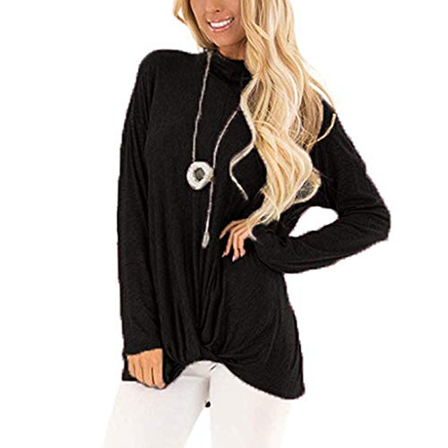 Solid Color-leggings (WWricotta Women Casual Long Sleeve Solid Color T Shirts Twist Knot Tunics Tops Blouses(Schwarz,XXL))