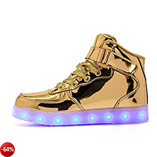 Vansney LED Scarpe Carica USB 7 Colori Lampeggiante Ragazzi e Ragazze, Un Regalo di Natale Correre di Notte Universale di Skateboard