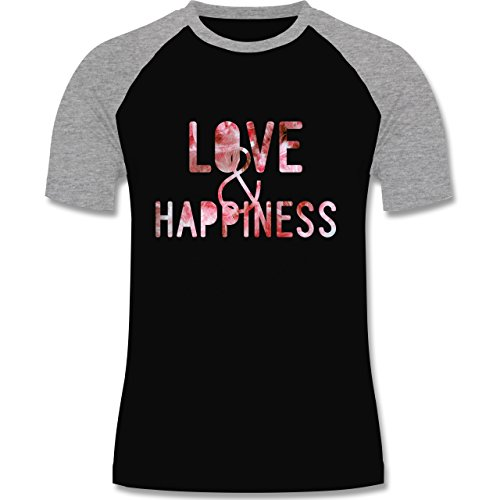 Statement Shirts - Love & Happiness Pink - zweifarbiges Baseballshirt für Männer Schwarz/Grau Meliert