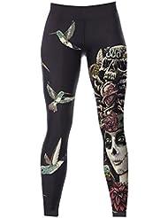 Gazechimp Pantalones Leggings de Yoga De Moda Suave Comodos con Impresión Digital para Mujeres Ropa Deportiva - Reina del cráneo, un tamaño