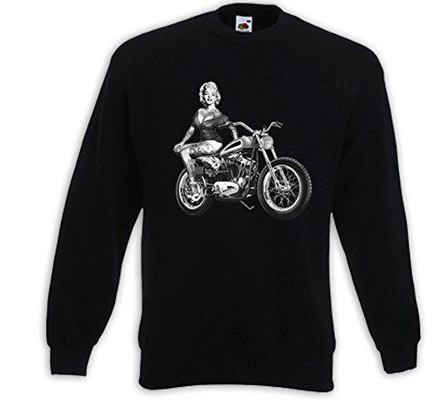 Biker Pullover Marilyn Motocross Zündkerze Vintage Rockabilly Pinup Schwarz