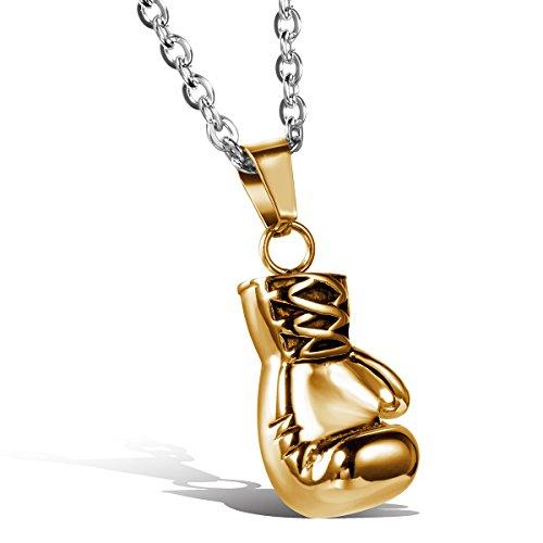 Oidea Herren Halskette mit Anhänger, Edelstahl Gold Boxhandschuhe Männer Anhänger mit 55cm Silber Kette