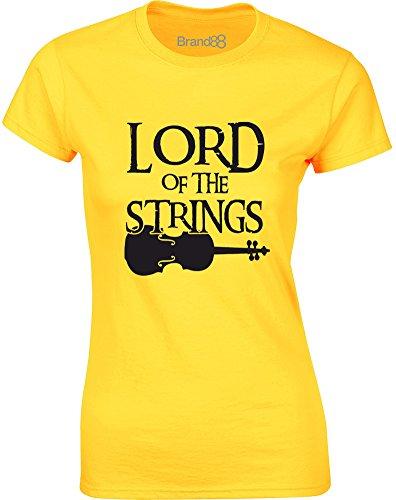 Brand88 Lord of the Strings, Gedruckt Frauen TShirt GänseblümchenGelb/ Schwarz