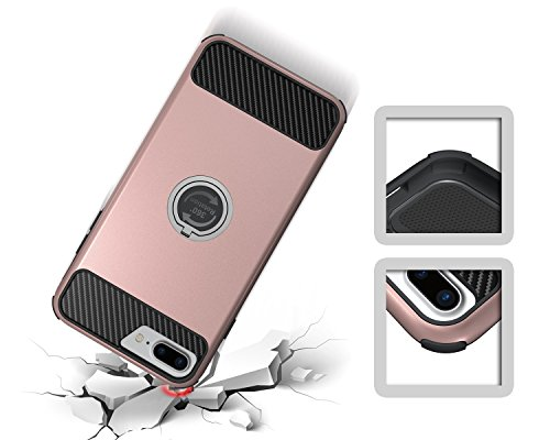 IPhone 7 Plus Gehäuse, Solid Color 2 In 1 Hard Back Case mit Ring Stand für IPhone 7 Plus ( Color : Gold ) Rose Gold