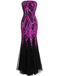 Angel-fashions Damen Ohne Arm Pailletten Baum AST Net Meerjungfrau-Kleid- Kleid fa8436edb2