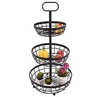 3 Tier Fruit Basket Holder, Metal Storage Basket Metal Storage Basket Kitchen Fruit Rack Vintage Style
