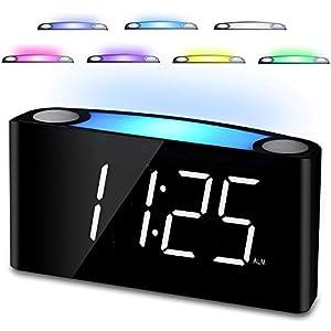 Lauter wecker für tiefschläfer, wecker digital licht regelbar,7-Zoll-LED-Anzeige & Dimmer, 2 USB-Ladegerät, 12/24 H, Batterie-Backup, großes Snooze für Jungen Mädchen,Jugendliche,Nachttisch,Kissen