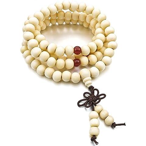 Budismo Pulsera - TOOGOO(R)8mm Madera Pulsera Brazalete Collar Tibetano Blanco Sandalo 108pcs Bead Oracion Budismo Budista