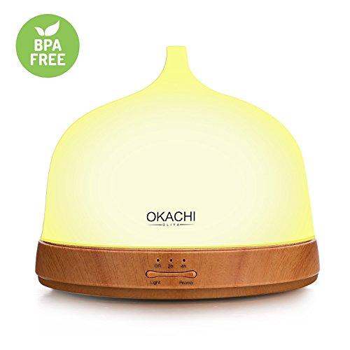 OKACHI GLIYA Kalten Aroma Diffuser 200ml Nebel Luftbefeuchter Duftöldiffusoren Diffusor Humidifier mit 7 Farben LED Licht und Abschaltautomatik (Herren Zwei-knopf-single)