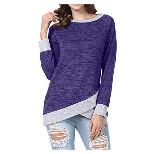 TOPKEAL Langarmshirt Damen Herbst Langarm Unregelmäßig Sweatshirt Casual T-Shirt Lose Einfarbig Bluse Oberteil Top (Lila, M)