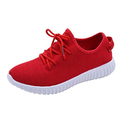 MRULIC Damen Low-Top Sneaker Halbschuh Schnürschuh Damen Flache Turnschuhe Mode Mesh Atmungsaktive Laufschuhe Schnürer Sportschuhe Trainer Schuhe Freizeitschuhe(Rot,36 EU)