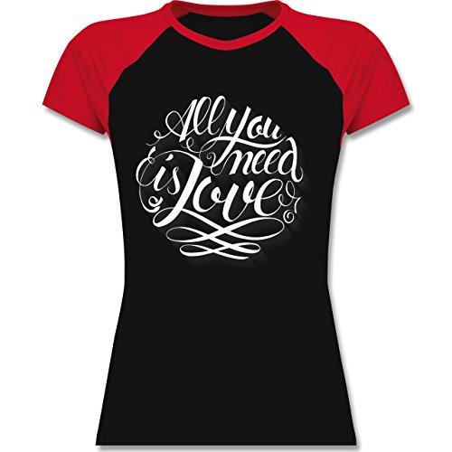 Statement Shirts - All you need is love Lettering - zweifarbiges Baseballshirt / Raglan T-Shirt für Damen Schwarz/Rot
