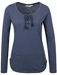 Sublevel Damen Basic Longsleeve mit Kordeln | Elegantes Langarm-Shirt leicht meliert