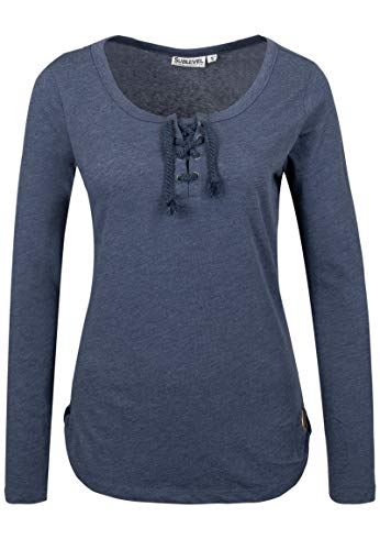 Sublevel Damen Basic Longsleeve mit Kordeln | Elegantes Langarm-Shirt leicht meliert Light-Blue S