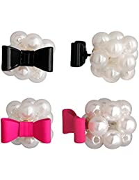 Spargz Gold Plated Bow Tie Custer Pearl 2 Pair Stud Earrings For Women Combo 621