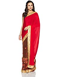 Womanista Women's Faux Crepe & Net Sari With Blouse Piece(FS9369_Red and Brown_Free Size)