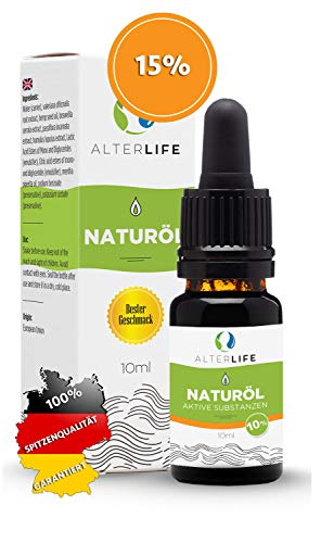 AlterLife gänzlich natürliche Öl Tropfen 10ml, aktive Verbindungen mit ISO Zertifikat, entspricht der deutschen und EU Gesetzgebung zu 100{5ef3a4bd843949cc898d5852f8e328e09e6551ef1a3359867088e75f84539b53}