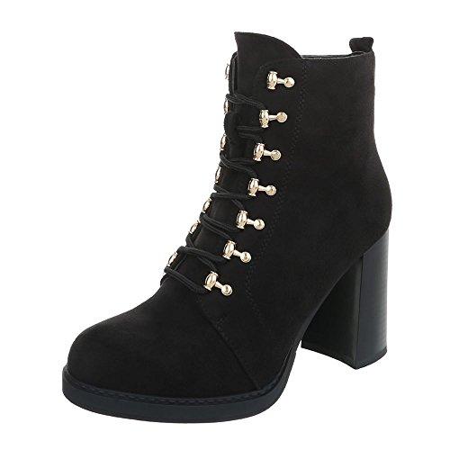 Ital-Design High Heel Stiefeletten Damen-Schuhe Schlupfstiefel Pump Schnürer Reißverschluss Stiefeletten Schwarz, Gr 40, 0-195-