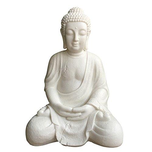 homea 5ecl176lámpara Buda sentado cromo/Poly resina color blanco