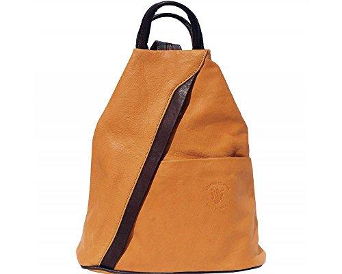 Rucksack und Schultertasche aus weichem, italienischen Leder, mit umkehrbarem Reißverschluss Mustard With Brown