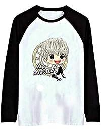 Unisex BTS Manga Larga O Neck Basic Lovers Casual Cartoon Figura Sudadera  Camiseta Top Ropa 71e98269b47