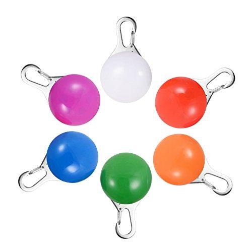 Luce da Collare per Cane / Gatto, Pacchetto da 6 Charms Pchero Faretti LED Impermeabili a Clip con Luci di Sicurezza (Blu, Verde, Arancione, Rosa, Rosso e Bianca)