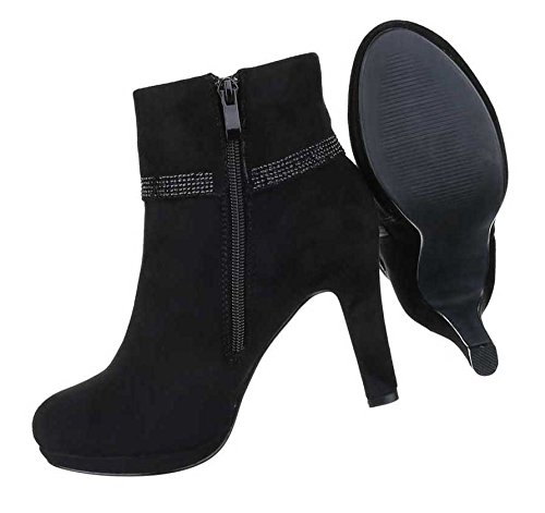 Damen Stiefeletten Schuhe High Heels Boots Schwarz