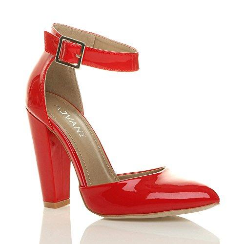 Ajvani Femmes Haute Large Talon Boucle Lanière Pointu Escarpins Chaussures Pointure Verni rouge