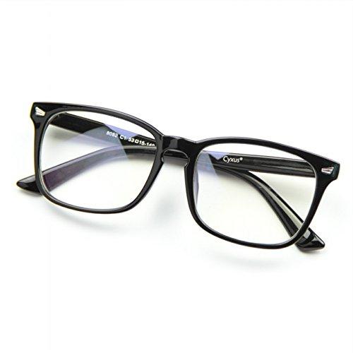 Cyxus transparente linse brillen,gewöhnliche gläser retro mode unisex brillen, (Matt schwarzer Rahmen)