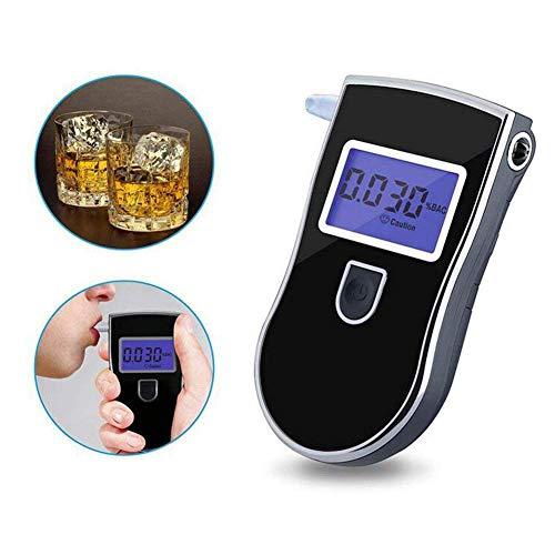 Alkoholtester Tester Digital Tragbare LCD Bildschirm Alkoholtester Blau Hintergrundbeleuchtung Verfügbar Mit Rechts/Links Hand Mit 5 Mundstücken Fauay -