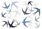"""WAS-12042 ensemble de tatouage mural""""Hirondelles en bleu et gris"""" 20 pièces"""