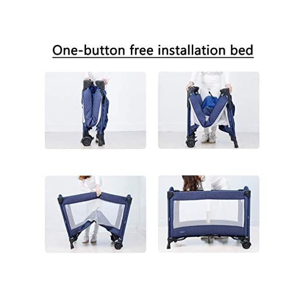 Yyqt Baby Cot,Baby Changing Station Travel Cot Foldable, Padded Borders, Carry Bag, Rounded Edges, 6 Designs Yyqt ♥ Premium & Durable Material:The cot made of iron pipe and Oxford cloth, sturdy and stable, which also guarantees a long life ♥See-through safety mesh:It features mesh cloth on both sides, this netted areas allow your baby to see out clearly as well as an onlooker to see in to her/him, and it also offers great ventilation for your baby. ♥Easy to Move:It designed in two wheels and two legs, you can move it around easily without any problems with the help of two wheels, and there is no issue to worry the stability due to the two sturdy legs. 4