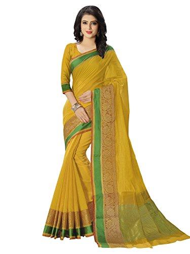Kanchnar Women's Yellow Color Silk Plain Saree