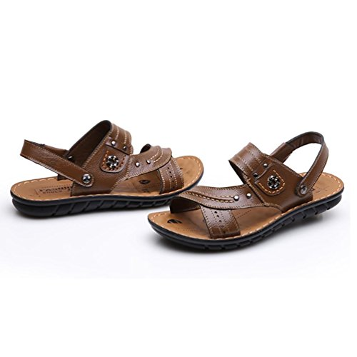 SHANGXIAN Pantofole & infradito Comfort cuoio scarpe Casual piatto tacco marrone chiaro giallo nero Walking di uomini 44