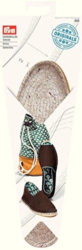 Prym-Espadrille in tessuto con Base in gomma, suola da cucito, paglia e juta, misura UK 4/EU 37, colore: naturale, 1 paio