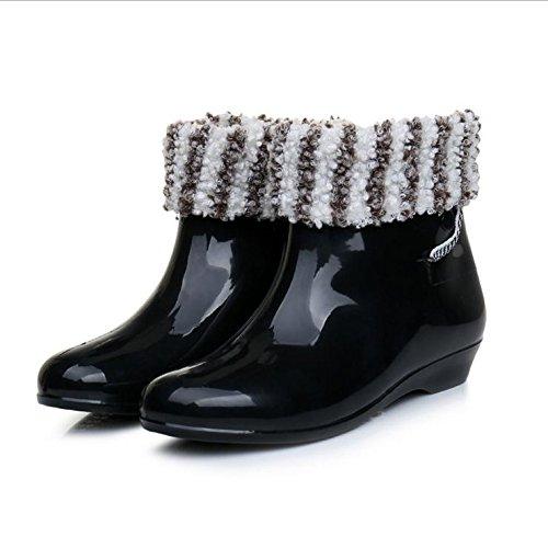 Frau Erwachsener Schlupf regen Stiefel black + cotton