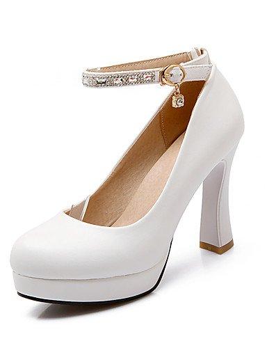 WSS 2016 Chaussures Femme-Bureau & Travail / Décontracté-Rose / Rouge / Blanc-Gros Talon-Talons / Bout Arrondi-Talons-Polyuréthane white-us5 / eu35 / uk3 / cn34
