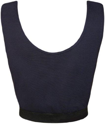 WearAll - Haut court sans manches avec l'image du crâne - Hauts - Femmes - Tailles 36 à 42 Bleu Marine
