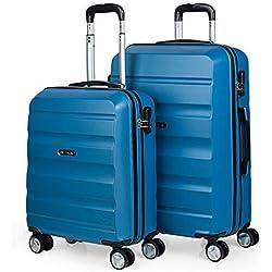 ITACA - T71615 Juego Set 2 Maletas Trolley 50/60 cm ABS. Rígidas, Resistentes y Ligeras. Mango Telescópico, 4 Ruedas Dobles Grandes. Pequeña Low Cost, Color Azul