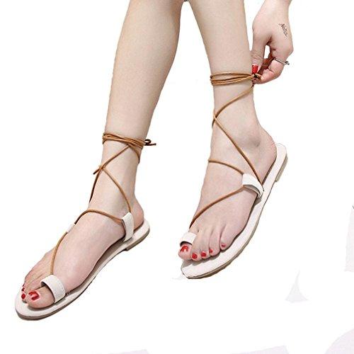 DM&Y 2017 cinghie europee ed americane attraversare i sandali piani Roma modo fissa scarpe a punta meters white