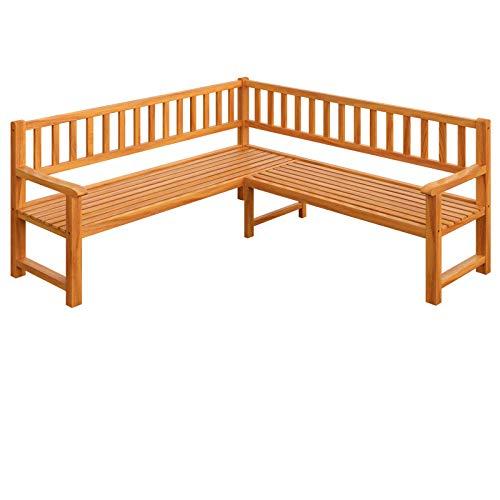 Deuba Eckbank | FSC®-zertifiziertes Eukalyptusholz | Gartenbank Holzbank Sitzbank Bank Gartenmöbel Parkbank Sitzgarnitur
